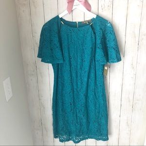 Melonie T 12 Teal Lace Shortsleeve Sheath Dress